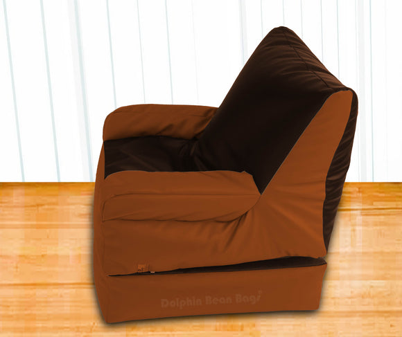 Dolphin Recliner Armrest Bean Bag Brown/Tan-Filled (With Beans)