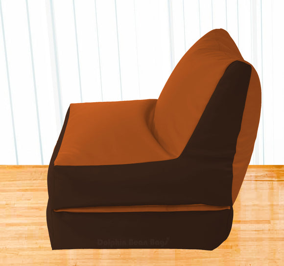 Dolphin Recliner Bean Bag Brown/Tan-Filled (With Beans)