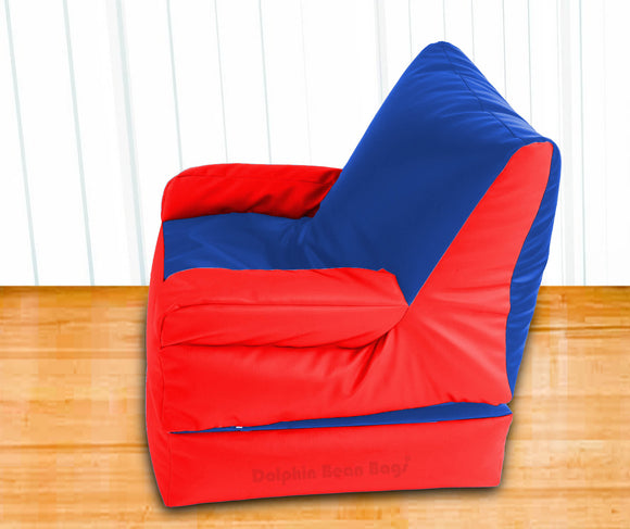 Dolphin Recliner Armrest Bean Bag R.Blue/Red-Filled (With Beans)