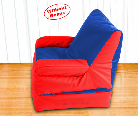Dolphin Recliner Armrest Bean Bag R.Blue/Red-Covers (Without Beans)