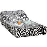 Dolphin Zeal 1 Seater Sofa Bed- Zebra - 2.5ft x 6ft with Free micro fiber Designer cushions