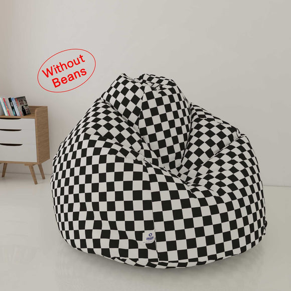 DOLPHIN XL PRINTED FABRIC BEAN BAG-BLACK & WHITE - WASHABLE (COVER)