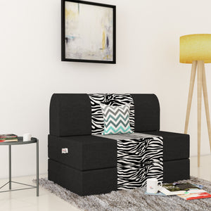 Dolphin Zeal 1 Seater Sofa Bed-Black & Zebra- 2.5ft x 6ft with Free micro fiber Designer cushions