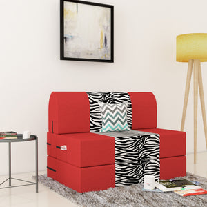 Dolphin Zeal 1 Seater Sofa Bed-Red & Zebra- 2.5ft x 6ft with Free micro fiber Designer cushions
