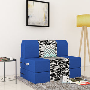 Dolphin Zeal 1 Seater Sofa Bed-R.Blue & Zebra- 2.5ft x 6ft with Free micro fiber Designer cushions