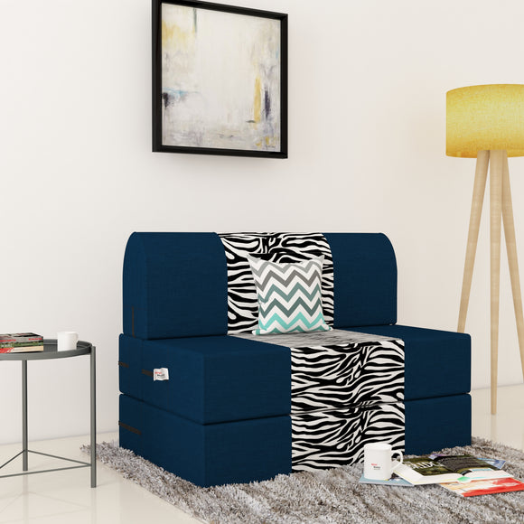 Dolphin Zeal 1 Seater Sofa Bed-N.Blue & Zebra- 3ft x 6ft with Free micro fiber Designer cushions