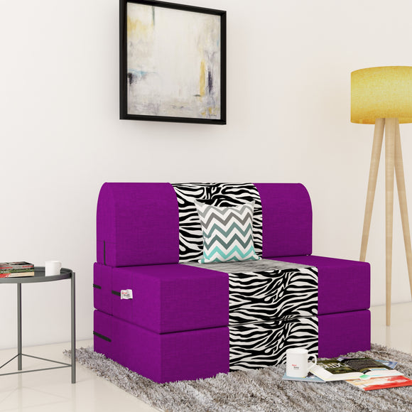 Dolphin Zeal 1 Seater Sofa Bed-Purple & Zebra- 2.5ft x 6ft with Free micro fiber Designer cushions