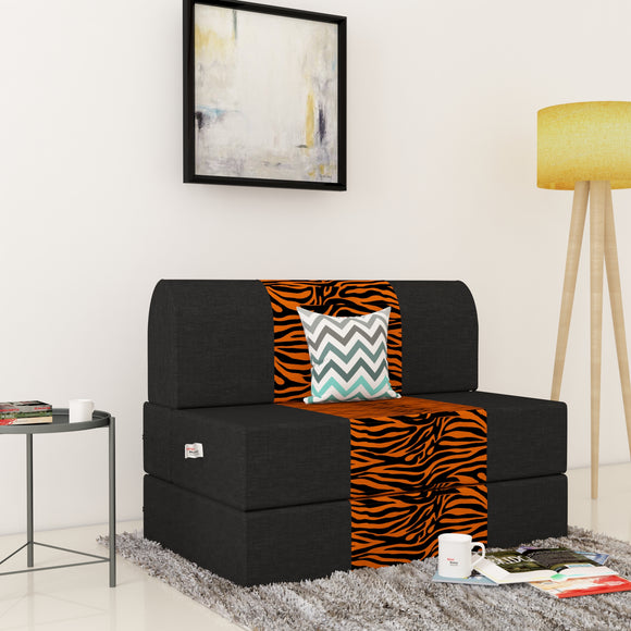 Dolphin Zeal 1 Seater Sofa Bed-Black & Golden Zebra- 2.5ft x 6ft with Free micro fiber Designer cushions