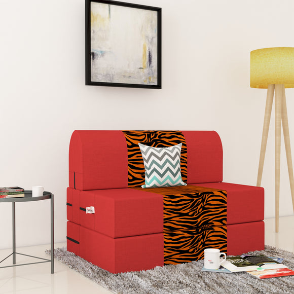 Dolphin Zeal 1 Seater Sofa Bed-Red & Golden Zebra- 2.5ft x 6ft with Free micro fiber Designer cushions