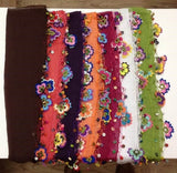Brown Cotton Scarf with Crocheted flowers and multicolor beads