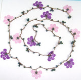 10.11.11 Pink and Purple Crochet beaded flower lariat necklace with purplish Beads