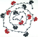 10.11.12 Black and Dark Red Crochet beaded flower lariat necklace with Black Onyx Stones