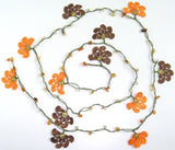 10.11.14 Orange and Brown Crochet beaded flower lariat necklace with Agate Stones