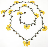 10.11.22 Yellow Crochet beaded flower lariat necklace with Brown Tigers Eye Stones
