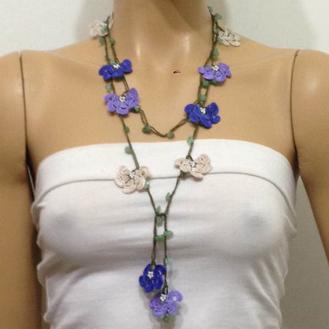 10.11.23 Lilac,Royal Blue Beige Crochet beaded flower lariat necklace with Green Jade Stones
