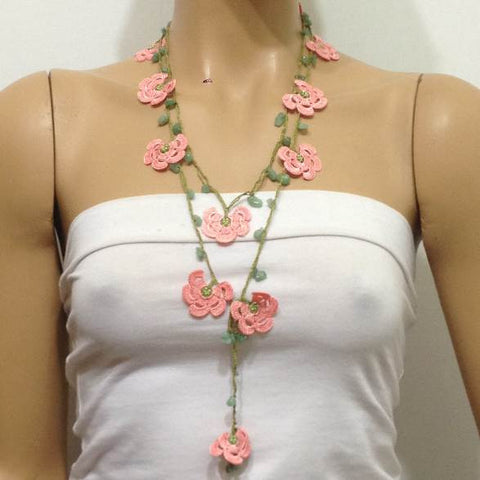 10.11.24 Pink Crochet beaded flower lariat necklace with Green Jade Stones