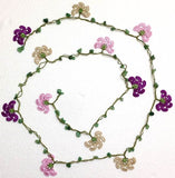 10.11.25 Pink,Purplish,Beige Crochet beaded flower lariat necklace with Green Jade Stones