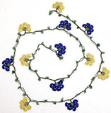 10.11.26 Yellow, Night Blue Crochet beaded flower lariat necklace with Green Jade Stones