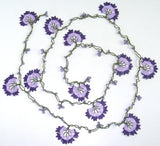 10.12.12 Lilac and Purple Crochet beaded flower lariat necklace with Lavender beads