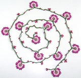 10.12.13 Pink Crochet beaded flower lariat necklace with Pink beads.
