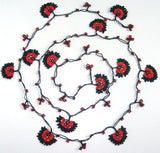 10.12.14 Black and Red Crochet beaded flower lariat necklace with Red beads.