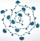 10.12.15 Black and Blue Crochet beaded flower lariat necklace with Black beads.