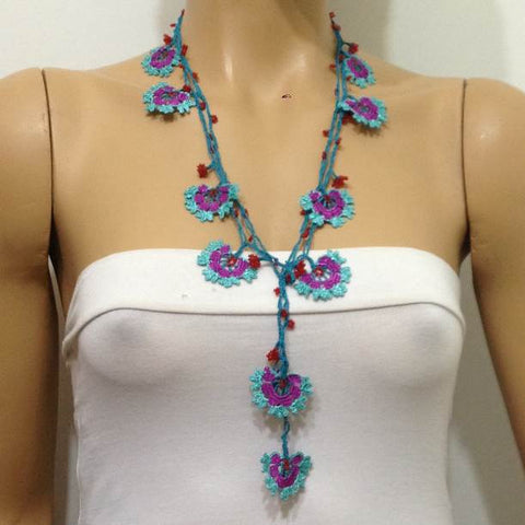 10.12.17 Blue and Plum Crochet beaded flower lariat necklace with Red beads.