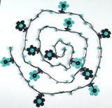 10.14.11 Blue and Black Daisy Crochet beaded flower lariat necklace with Blue Turquoise Stones