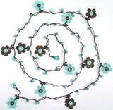 10.14.15 Brown and Teal Green Daisy Crochet beaded flower lariat necklace with Blue Turquoise Stones.