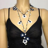 10.14.18 NAVY and White Daisy Crochet beaded flower lariat necklace with White Shell Stones.