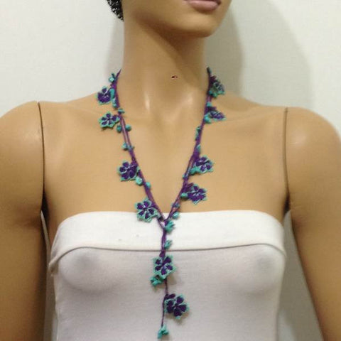 10.16.17 Green and Purple beaded flower lariat necklace with Blue Turquoise Natural Gemstone.