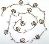 10.19.12 Beige and Brown Crochet beaded OYA flower lariat necklace with White Beads.