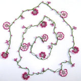 10.19.13 Pink Crochet beaded OYA flower lariat necklace with Pink Beads.