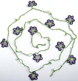 10.19.14 Violet and Purple Crochet beaded OYA flower lariat necklace with White Beads.