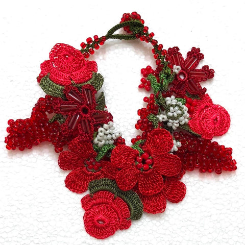 Red Bouquet Bracelet with Red Grapes - Crochet OYA Lace Bracelet