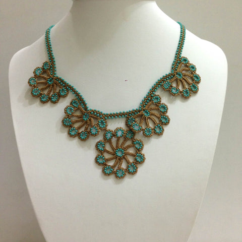 Taupe and Turquoise Bead Choker Necklace with Crocheted Bead Flower Oya