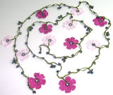 10.20.19 PINK and Dark Pink OYA Flower Lariat Necklace with purplish black beads.