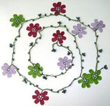10.20.24 LILAC, Burgundy and Green OYA Flower Lariat Necklace with purplish black beads.