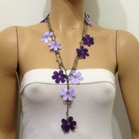 10.20.28 Lilac and Purple OYA Flower Lariat Necklace with purplish beads.