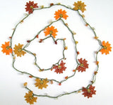 10.21.11 Orange and Copper Crochet beaded flower lariat necklace with orange Agate  Stones