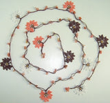 10.21.12 Brown and Pink Crochet beaded flower lariat necklace with Rose Quartz Stones