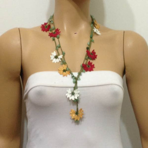 10.21.13 Burgundy,Yellow and White Crochet beaded flower lariat necklace with Jade Stones