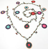 10.24.11 Multi-color Round Crochet beaded OYA Flower lariat necklace with Green String