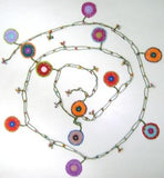 10.24.13 Multi-color Orange Round Crochet beaded OYA Flower lariat necklace with Green String