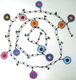 10.24.14 Multi-color Blue Round Crochet beaded OYA Flower lariat necklace with Brown String