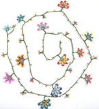 10.25.11 Multi-color WHEEL of FORTUNE motif Crochet beaded OYA Flower lariat necklace