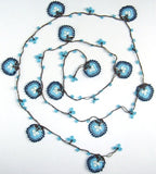 10.27.12 BLUE and BROWN QUADRO motif Crochet beaded OYA Flower lariat necklace with Brown String