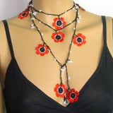 10.28.11 POPPY Black and Red Crochet beaded flower lariat necklace with white beads