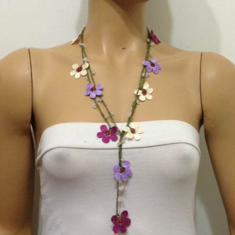 10.29.15 Crochet beaded flower lariat necklace - Lilac, Cream and Plum