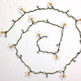 10.30.11 Big White Daisy Crochet beaded flower lariat necklace with Transparent Beads.